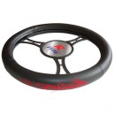 T12040 - Steering wheel cover, black, with red dragon figure