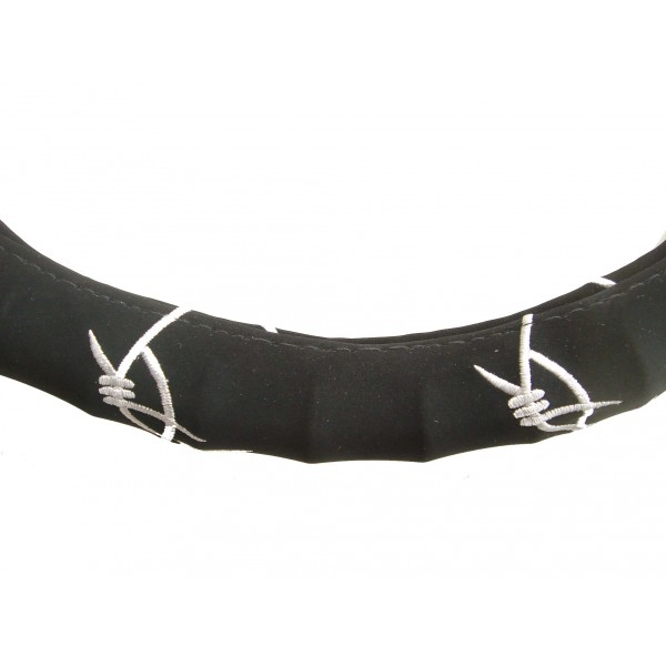 T12069 - Steering wheel cover, black with white barbed-wire motif ...